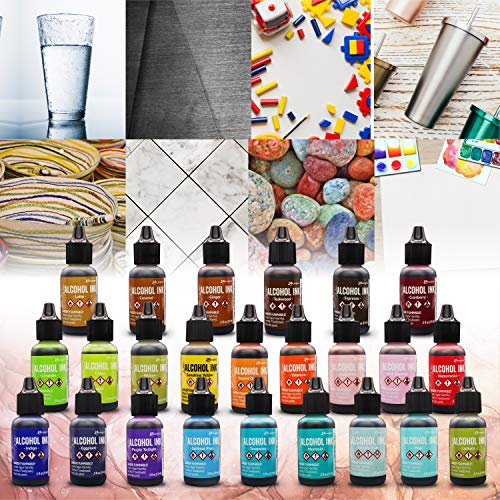 Tim Holtz Alcohol Ink Set - 24 Unique Ranger Alcohol Inks - Bundled with Moshify Blending Pen - Perfect for Use with Yupo Paper, Epoxy Resin and Tumblers - Tim Holtz Artist Set