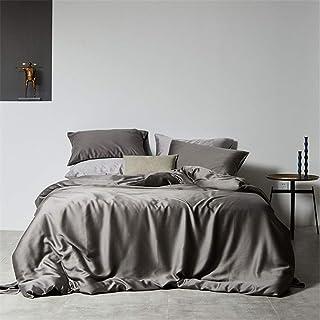 Dekbedovertrekken, Licht Luxe Modern Simple Dubbelzijdig Effen Kleur Tencel Vier-Delige Dekbedovertrek Bedding Naked Sleep...