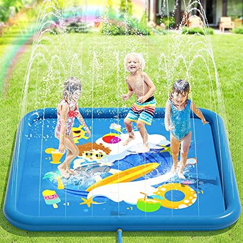 Peradix Tappetino Gioco d'Acqua per Bambini, 67in/170cm Spruzzi e Splash Tappeto Gioco d'Acqua da Giardino per Ragazzi e Ragazze,Splash Pad d'Acqua Giocattoli