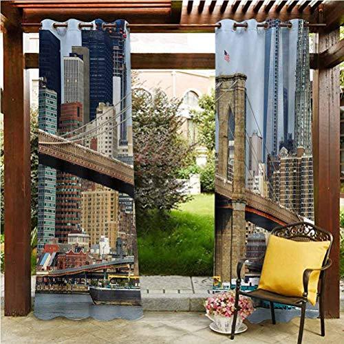Urban Outdoor Polyester Drapes gazebo garden furniture house Skyline of Brooklyn New York USA Cityscape Bridge Buildings and River Coastal Scenery Multicolor 96'W by 72'L(K245cm x G183cm)