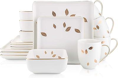 Amazon Com Stone Lain Gold Leaves Square Porcelain Dinnerware Set Service For 4 White Dinnerware Sets