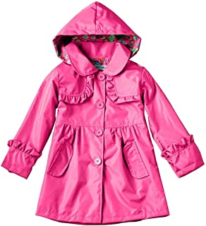 Wennikids Girl Kid Flower Boy Dot Waterproof Hooded Coat Jacket Outwear Raincoat