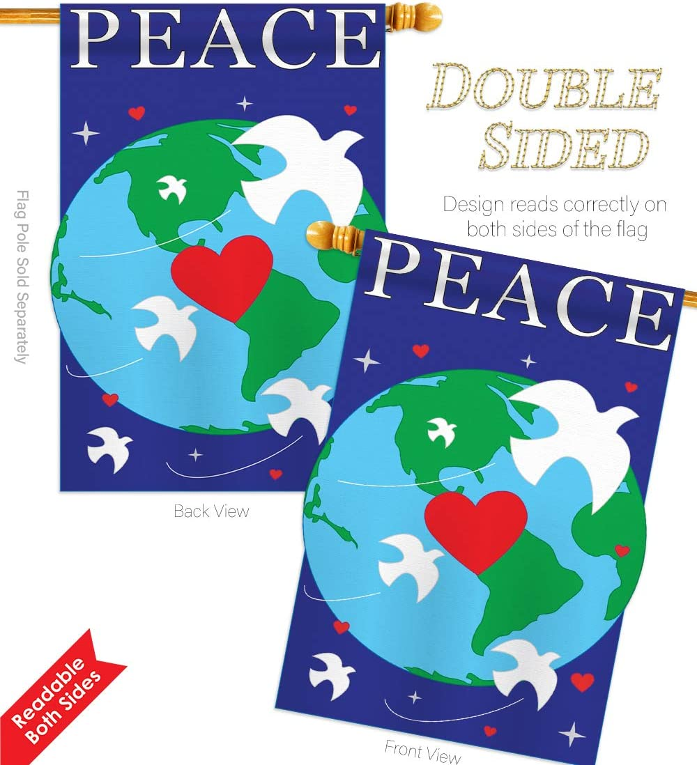 Amazon Com Two Group Peace Inspirational Everyday Support Applique Decorative Vertical House Flag 28 X 44 Garden Outdoor