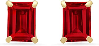 Certified 14k White or Yellow Gold Solitaire Emerald-Cut Gemstone Stud Earrings (7x5mm)