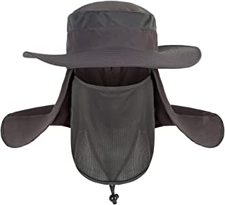 Men Women UPF 50+ UV Protection Fishing Hat Bucket Hat with Removable Neck Flap Face Cover, Wide Brim Sun Hat Boonie for Outdoor, Hiking, Safari