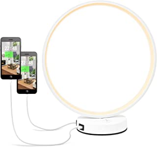 Hong-in Modern Minimalist LED Circle Desk Lamp with Dual USB Ports, 3 Color Temperature Bedside Table Nightstand Lamp, 2-Way Control Eyes-Friendly Good for Reading/Decoration/Office/Bedroom (White)