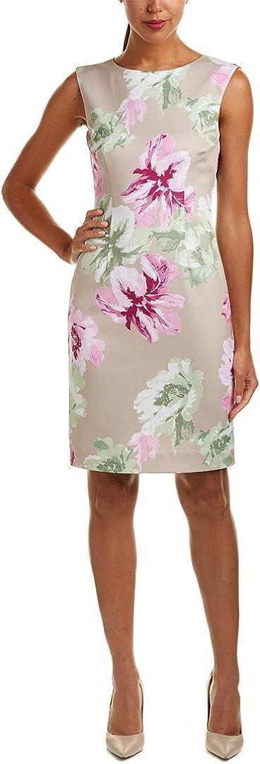 Tahari ASL Womens Scuba Floral Print Party Dress Beige 8