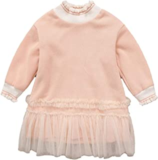 FWEIP Kids Sweater Splice Yarn Skirt Knit Velvet Thickened Girls Princess Skirt Ruched Tulle Princess Dresses Clothes