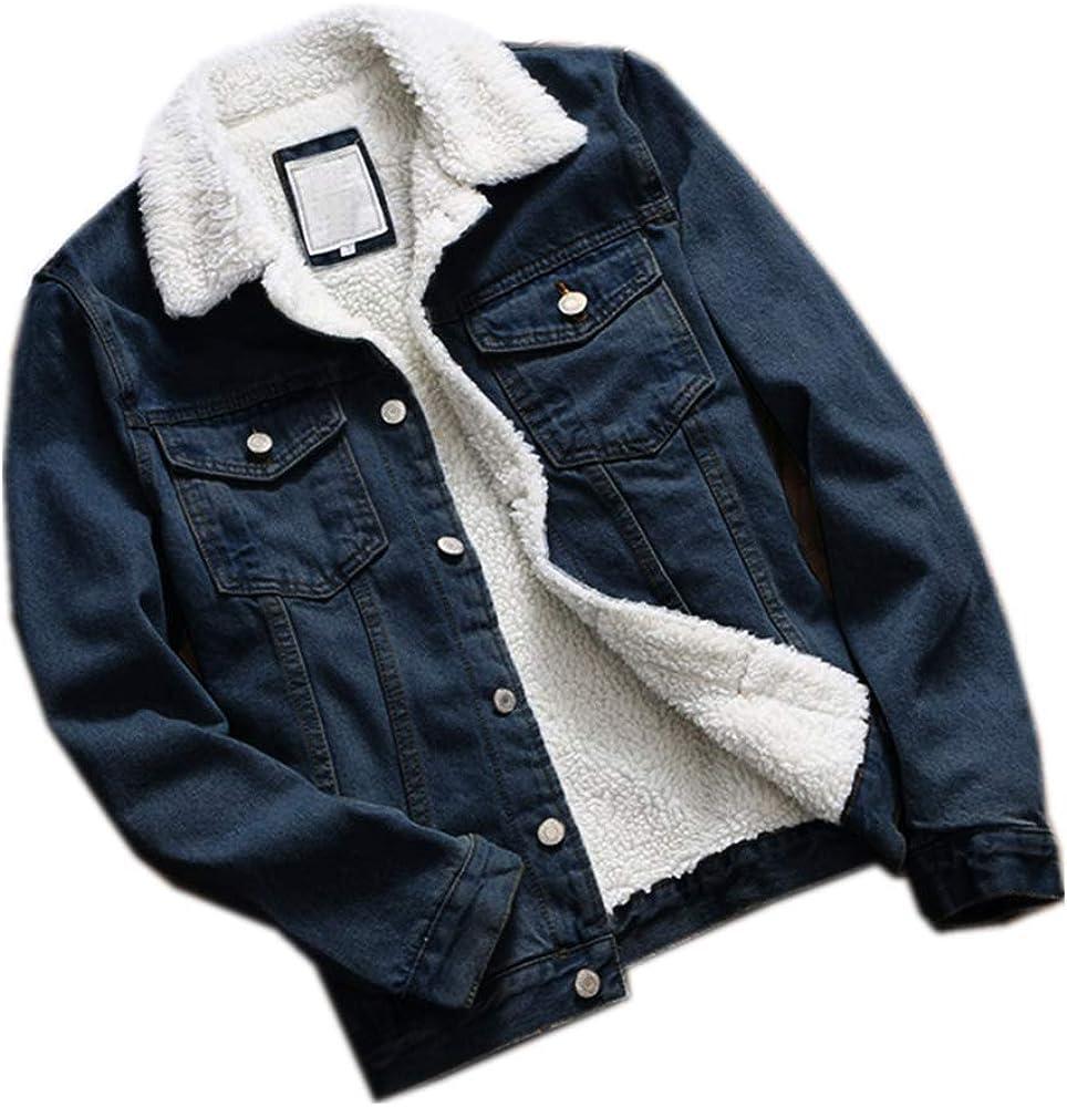 DIOMOR Womens Casual Retro Lining Wool Oversized Denim Jacket Fashion Outdoor Keep Warm Windproof Jean Coat Outerwear