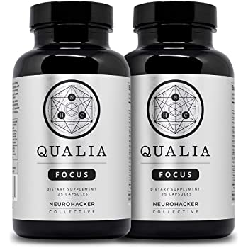Qualia Focus Nootropics by Neurohacker Collective 2 Pack | The Brain Supplement for Focus, Supporting Memory, Mental Clarity, Energy, Reasoning and Concentration with Ginkgo biloba, Bacopa monnieri