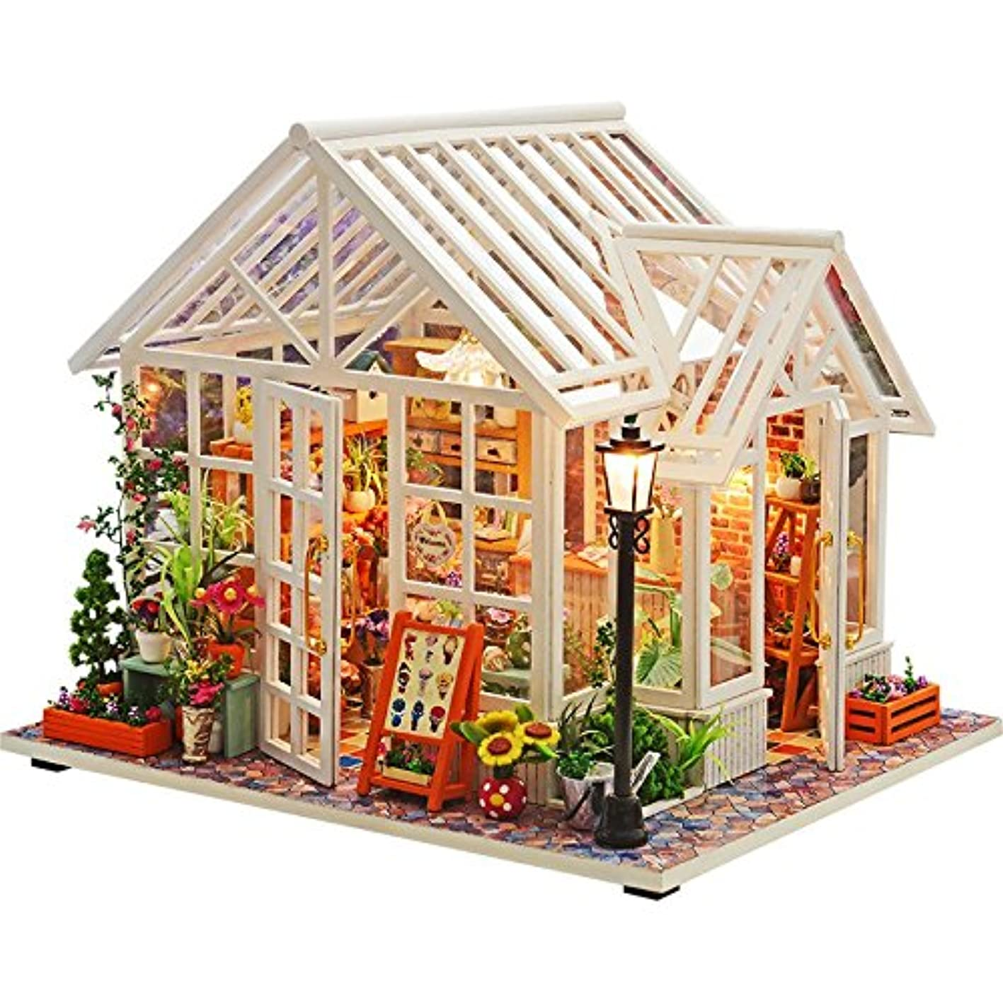 WYD DIY Flower Shop Miniature Dollhouse,Handmade Wooden Furniture Kits Doll House sglmuofuxxg992