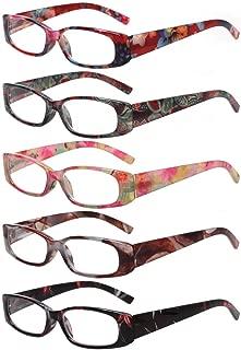 Women's Reading Glasses spring hinge 5 Pair Print Ladies Fashion Readers for Women