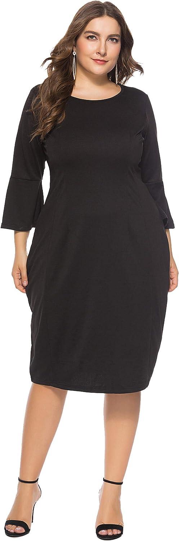 Shangrui Women Plus Size Dress, Bell Sleeves High Waist Knee Length Casual Dress