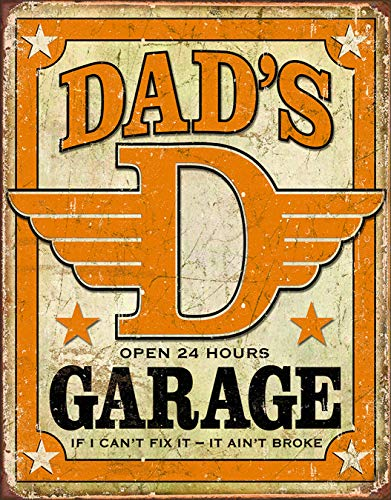 "Desperate Enterprises Dad's Garage Tin Sign, 12.5"" W x 16"" H"