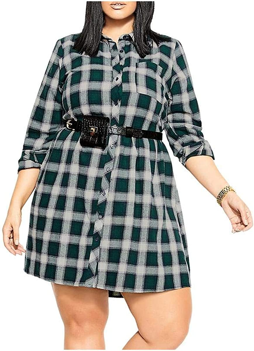 City Chic Women's Apparel Women's Plus Size Casual Button Down Dress with Shirt Collar Detail