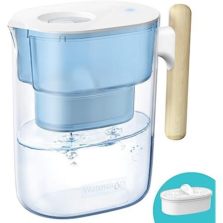 Waterdrop Chubby Cruche de Filtre à eau 3,5 L Certifiée NSF Avec Filtre 1 × 90 Jours, Réduit le Plomb, le Fluorure, le Chlore et Plus, Sans BPA, Bleu (Filtre de Remplacement: WD-PF-01A Plus)