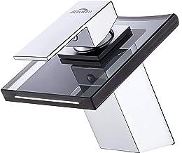 Auralum Badkamerkraan wastafelarmatuur van glas, grijs wastafel eenhandsmengkraan met waterval mengkraan wastafel, eengree...