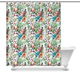 Cortina de baño Flamingos Bird with Palm Leaves and Hawaiian Hibiscus Flowers Waterproof Shower Curtain Decor Fabric Bathroom Set with Hooks, 60(Wide) x 72(Height) Inches