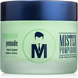 Mister Pompadour Peppermint Pomade | Water-Based Pomade For Men | Medium Hold and High Shine | Natural Ingredients | 2oz