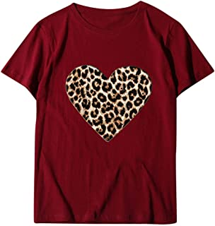 Women's Short Sleeve T-Shirt Leopard Heart-Shaped O Neck Tops Summer Fashion Love Printed Casual Blouses Tunic Tees