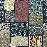 Kt KILOtela Tela por Metros de loneta Estampada Digital - Half Panamá 100% algodón - Ancho 280 cm - Largo a elección de 50 en 50 cm | Geométrico Animal Print - Marrón, Negro