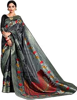 Grey Designer Indian Women Bollywood Style Soft Crystal Silk Festive Wear Sari With Blouse Piece Ethnic Hit 6063
