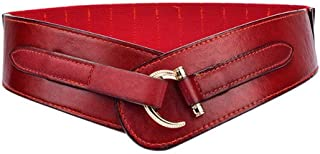 LUKEEXIN Womens Retro Style Skinny Leather Belt Solid Color Pin Buckle Simple Waist Belts (Color : Red)