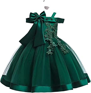 BestGift Children Wedding party Kids Dresses for girls Open back Beading Flower girls baby Girls Clothes Kids Christmas Pa...