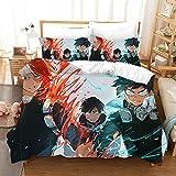 Tres piezas de la cubierta del edredón for mi héroe Academia Midoriya Izuku y Todoroki Shoto, animado 3D edredón almohada, 100% poliéster, suave y cómodo, ropa de cama de Otaku del animado y aficionad