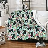 Throw Blanket Affenpinscher Floral Dog Flannel Fleece Blanket for Bed Couch Ultra-Soft 60'X50' Cozy Lightweight