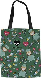 POLERO - Bolsa de la compra de lona de algodón, con estampado de dibujos animados de enfermeras, para niñas, mujeres, enfe...