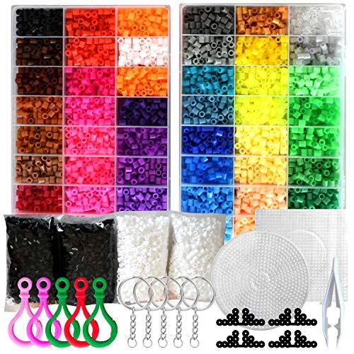 [RITALT] アイロンビーズ プレート セット 5mm 48色 約12000粒 黒と白がいっぱい!