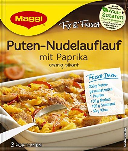 Maggi fix & frisch, Puten-Nudelauflauf mit Paprika, 39g Beutel, ergibt 3 Portionen, 12er Pack (12 x 39g)