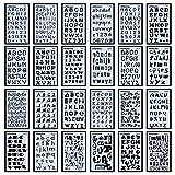 Juego de 24 plantillas de letras del alfabeto para diarios, suministros de papelería, álbumes de recortes, pintura, dibujo, manualidades, accesorios, 10,16 x 17,8 cm