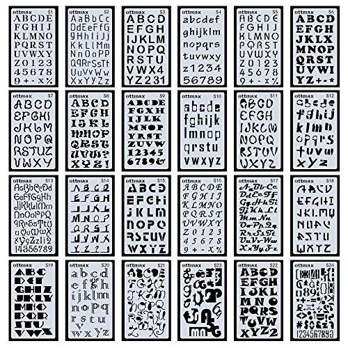 Buchstaben- und Zahlenschablonen, 24 Stück, für Bullet Journals, DIY-Scrapbooking, Malerei, Zeichnen, Bastelzubehör, 10,2 x 17,8 cm