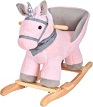 JOON Luna Rocking Horse Unicorn with a Spiral Scarf, Great for Childhood Development, Soft Materials Wooden Construction, Fun Musical Sounds, White Mane with Twisted Silver Horn, Pink-Gray