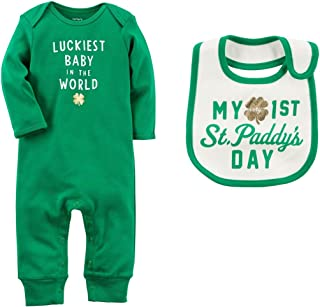 Carter's Boys or Girls Baby's First St Patrick's Day Romper Jumpsuit and Bib Set