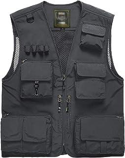 Flygo Men's Casual Outdoor Work Safari Fishing Travel Photo Cargo Vest Jacket Multi Pockets