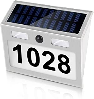 SOONHUA Solar House Number Plaque, Address Numbers for Houses with Solar Motion Sensor Light Outdoor Waterproof,Wall Mount,Auto on/Off Customized Letter and Numbers for Door Fence Mailbox