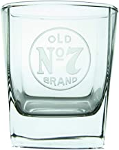 Jack Daniel's Signature On The Rocks Glass – Clear, Squared Base Glass with Official Old No. 7 Logo – 10 ounces