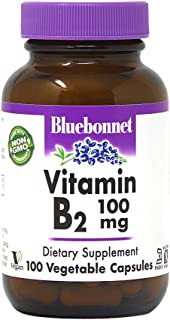 Bluebonnet Vitamin B-2 100 mg Vegetable Capsules, 100 Count