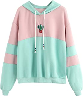 Womens Long Sleeve Colorblock Pullover Fleece Hoodie Sweatshirt Tops