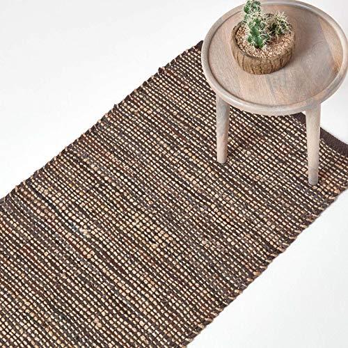 Homescapes Flickenteppich/Läufer Madras, Naturfaser-Teppich aus recyceltem Leder und Hanf, 66 x 200 cm, braun
