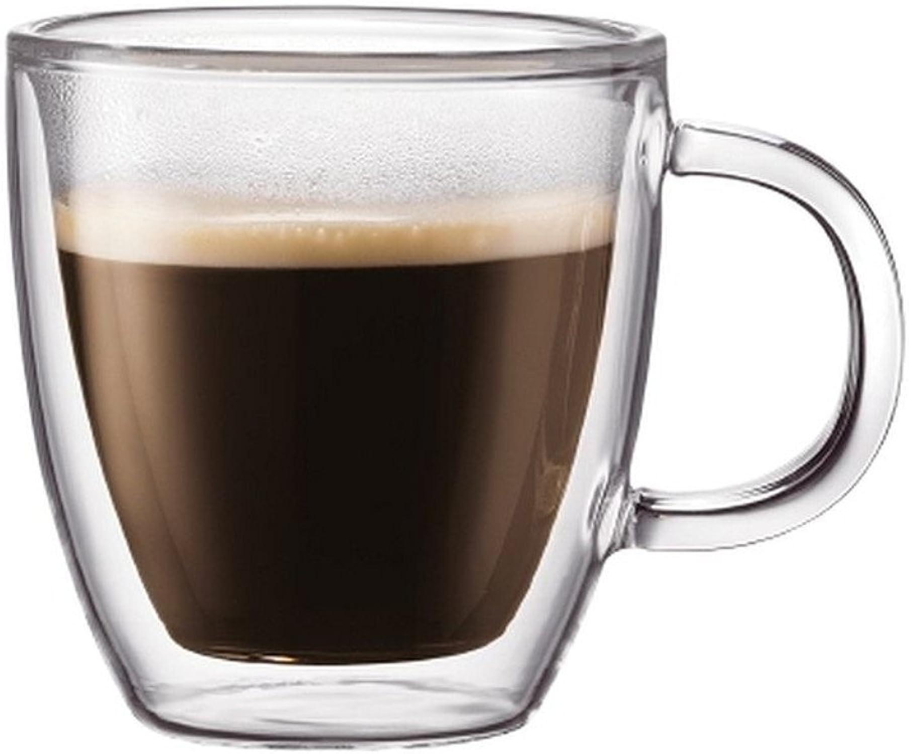 Bodum Bistro Double Paroi en verre thermique Espresso Mug pour boissons chaudes et froides Transparent Lot de 2 Différentes tailles 0.15l, 5oz transparent