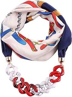 CADANIA Mujer étnica Retro Pañuelo para el Cuello Infinito Bufanda con Cadena Colgante de Lunares de Colores Impresión de Plumas Collar de joyería de Seda de imitación 5#