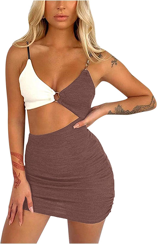 Jumaocio Womens Beach Sundresses,Summer New Women's Fashion Suspenders Hollow Sexy Backpack Hip Mini Dress