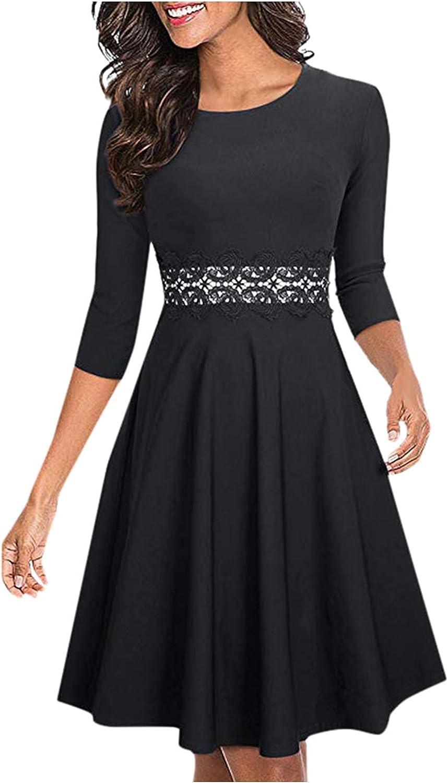GANTIAN Women's Summer Half Sleeve Elegant A-Line Dresses Party Wedding Solid Color Dresses