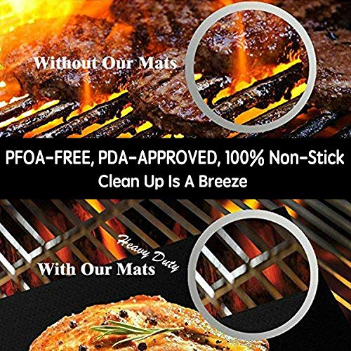 RENOOK Grill Mat, Heavy Duty 600 Degree Non Stick BBQ Mats, Easy to Clean & Reusable, Gas Charcoal Electric Griling Accessories, Best for Outdoor Barbecue Baking and Oven Liner, Set of 2, 20 x17-Inch