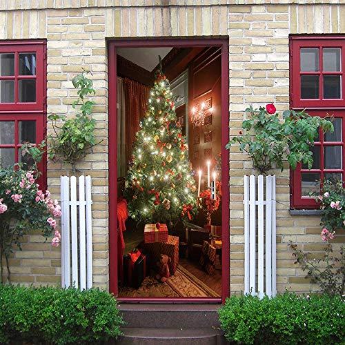 Qazwsxedc Decoración Del Árbol De Navidad Pegatinas Creativas Para Puertas Personalizadas Puerta De Madera Decoración Familiar Pegatinas De Pared