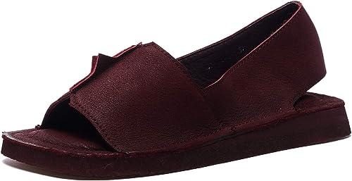 Sandales à Bout Ouvert d'été Confortables pour Femmes Chaussures de Plage Plates vin Rouge